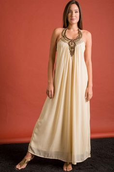 Draped Wake Up Dress with Bronze Beadwork Details - Cream