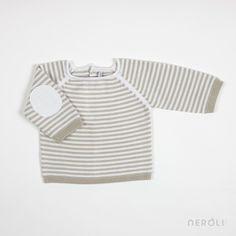 Jersey color piedra a rayas con coderas para bebé de Mon Marcel. #baby #jumper #fashion #NeroliByNagore #SS14 #MonMarcel