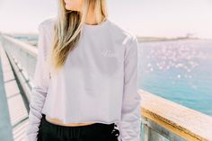 Keep it light in the Brush Off Long Sleeve Crop Tee. Vans Girls, Girl Blog, Crop Tee, What I Wore, Nike Jacket, Color Pop, Fashion Outfits, Clothes For Women, Tees
