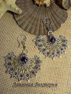"Silver plated earrings ""Lavender Sari"".Wire wrap jewelry.with natural amethyst and jade. Purple."