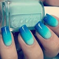 45 Inspirational Blue Nail Art Designs and Ideas - Latest Fashion Trends - Nails, Nails, and Nails - Blue Stiletto Nails, Blue Ombre Nails, Ocean Blue Nails, Ocean Nail Art, Gradient Nails, Acrylic Nails, Ombre Nail Art, Ombre Paint, Trendy Nail Art