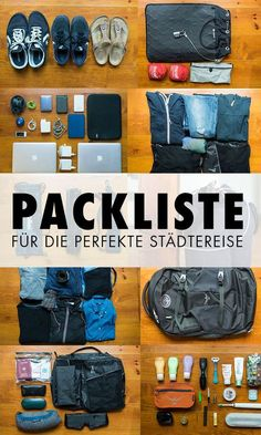 Die perfekte Packliste für Städtereisen in Europa. Woran du denken musst, was … The perfect packing list for city breaks in Europe. What you need to think about, what you should definitely pack and tips for great travel gadgets. So succeed your city trip! Road Trip Packing, Packing List For Travel, Travel Checklist, New Travel, Travel Essentials, Travel Tips, Weekend Travel Bag, Travel Hacks, Europa Tour