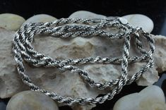 STERLING SILVER 925 Italy Vintage Art Deco Jewelry Necklace  chain twisted rope design 24'' long Modernist st244