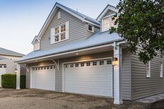 Build Prestige Homes Hamptons Style Barn with Loft - Build Prestige Homes Garage Loft, Garage House Plans, Garage Doors, Dream Garage, Car Garage, Die Hamptons, Dormer Windows, Queenslander, House Paint Exterior
