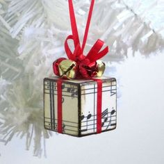 Christmas Tree Ornament Red Sheet Music Christmas Present Gift Decoration Jingle Bells wooden block christmas crafts Red Christmas Ornaments, Small Christmas Trees, Noel Christmas, Handmade Christmas Presents, Christmas Blocks, Christmas Gifts To Make, Christmas Music, Christmas Signs, Outdoor Christmas