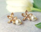 Frangipani earrings, Gold Post Earrings, Swarovski Pearl earrings, June birthstone jewelry, Frangipani jewelry, Plumeria earrings, Stud