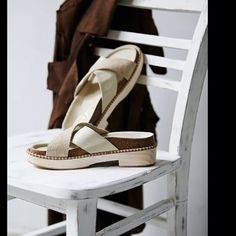 "*NIB* Free People Brickel Leather & Wood Sandal Suede and leather crisscross straps on a soft footbed over a wooden 2.4"" platform heel.  Color: Bone straps with natural wood platform.  Initial photos from FP website, more soon! Free People Shoes Sandals"