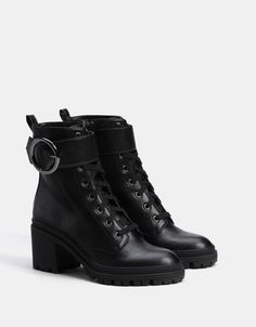 Lace-up high heel ankle boots with XL buckle - SHOES - Bershka United States