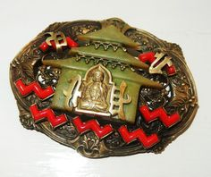 ANTIQUE ART DECO CZECH NEIGER BROS BROOCH CHINESE PAGODA CATALIN BUDDHA RARE PIN