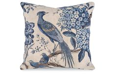 One Kings Lane - Floral Pheasant Pillow, Beige | One Kings Lane