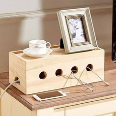 The Wooden Cable Organizer Box hides your power strip and tangled cables - New Day New Diy! Organizer Box, Cable Organizer, Shoes Organizer, Wooden Organizer, Cable Storage, Diy Storage, Wood Storage, Cable Management Box, Passion Deco