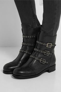 Jimmy Choo | Dover textured-leather boots | NET-A-PORTER.COM