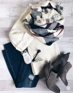 nordstrom anniversary sale tops - outfit flatlay with booties and blanket scarf . - Outfits for Work Winter Fashion Outfits, Fall Winter Outfits, Look Fashion, Autumn Fashion, Womens Fashion, Fashion Trends, Winter Dresses, Street Fashion, Feminine Fashion