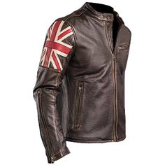 Biker Vintage Cafe Racer Leather Jacket - UK Flag - Brown Handmade NEW All Sizes