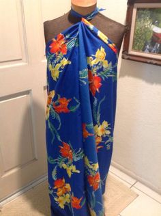 Blue Floral Wrap Sarong from Resort Wear Hawaii Hibiscus Beach Coverup #ResortLineHawaii #WrapSarong
