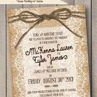 Burlap, Lace & Twine - Wedding and Ceremony Invitations