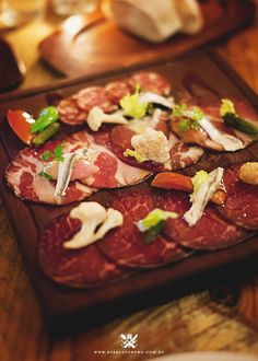 """The Wine-y Hermitage Road {Wooden Board of Waxy """"Charcuterie"""" garnished with Pickled Vegetables and White Anchovy}"""