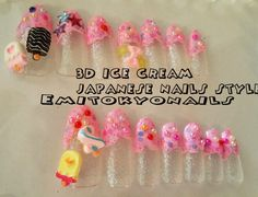 20x Ice cream, 3d Japanese Nails,Kawaii,Hand Painted False Nails,Nail Tips+Glue