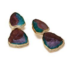 KATY BRISCOE - Paraiba Tourmaline Slice and Diamond Earrings with 18k Yellow Gold