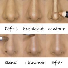 """My #1 request from my clients and students: HOW TO MAKE THE NOSE LOOK SMALLER. Well, here you go! This is my own nose before-and-after, with a complete step by step so you can achieve the same """"nose job"""" at home! home! The trick is to draw a thin highlight line down the center of the nose and sandwich that line with two dark lines on either side to create a narrower width. After lightly blending, set with powder and add a thin strip of shimmer down the center of the nose to highlight the…"""