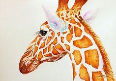 Original Animal Art Giraffe Painting in Watercolor Wall Decor