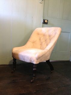 Mid 19th Century Side Chair with turned Rosewood Legs on Original Gilt Brass & Ceramic Castors Reupholstered in Ivory Jacquard Fabric WWW.HUTCHISONANTIQUES.COM