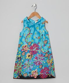 Take a look at this Blue Fireworks Turtleneck Dress - Toddler & Girls on zulily today!