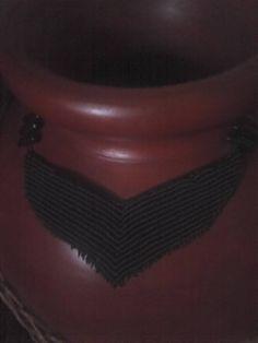 neck lace in black!! macrame!!