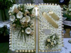 Large open book/bible Grave Flowers, Church Flowers, Funeral Flowers, Wedding Flowers, Funeral Floral Arrangements, Flower Arrangements, Funeral Sprays, Funeral Tributes, Peace Lily