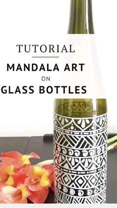 Glass Bottle Crafts, Diy Bottle, Bottle Art, Wine Bottle Vases, Water Bottle, Glass Painting Designs, Pottery Painting Designs, Simple Art Designs, Diy Crafts For Home Decor