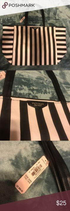 New Victoria's Secret tote Brand new Victoria's Secret pink and black stripe tote. Perfect for traveling or weekend adventures. Very spacious. I was using it as storage so I decided to list it in my closet. Victoria's Secret Bags Totes