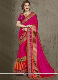 Ravishing attire to enhance your beauty. Be your own style diva with this magenta art silk designer traditional saree. This lovely attire is looking extra beautiful with embelishment of embroidered an...