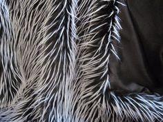 Black and White Feather Faux Fur Fabric - 1 yard piece #ShannonFabricsInc