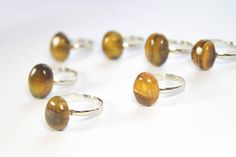 Tiger eye ring Gold stone ring Adjustable ring Stone favor