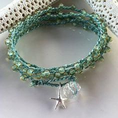Seafoam Green crochet wrap bracelet necklace by jewlsoflove, $42.00