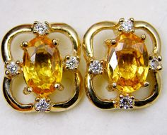 natural sapphire 14k yellow gold earrings