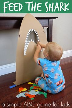 Toddler Approved!: Feed the Shark Alphabet Game for Kids. #preschool What a fun tie-in activity when older siblings are using Apologia Swimming Creatures! #homeschool science http://bit.ly/ApologiaZoo2