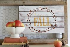 "DecoArt Blog - Project - ""Happy Fall"" Wood Panel using a Stencil cut with the Silhouette"