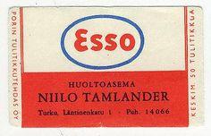TT Etiketti Turku Niilo Tamlander Esso Huoltoasema - Askon Keräilyraha