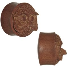 "3/4"" Organic Sabo Wood Mr. Owl Hand Carved Plug Set"