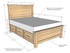 How to Build a Farmhouse Storage Bed with Storage Drawers
