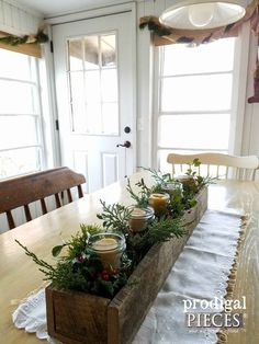 Simple Christmas Decor ~ Rustic Farmhouse Style While many go overboard on decor each year, I prefer to keep it to simple Christmas decor. You're invited to tour my rustic, farmhouse style, DIY home. Farmhouse Christmas Decor, Christmas Table Decorations, Primitive Christmas, Decoration Table, Rustic Christmas, Holiday Decor, Centerpiece For Kitchen Table, Magical Christmas, Christmas Home