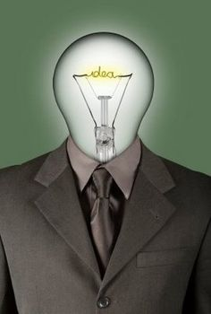 This picture is no name and theme on. But I prefer to understand it as a elite of designers. As a designer, the most important  requirement is creative ability and intelligence. The light bulb represent the new ideas, and the nice suit is means this person is an elite in somewhere.