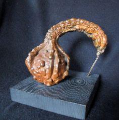 "Bronze Lost Wax Cast Gourd  ""Here To Serve""   Decorative Fine Art Sculpture www.modernartfoundry.com www.springgallerymaine.com"