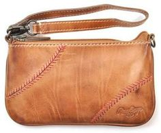 Vintage Leather Baseball Stitch Women's Wristlet / Mini-Bag by Rawlings<br>ONLY 3 LEFT!