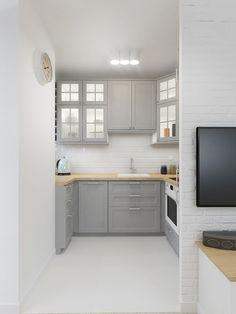 Mała kuchnia w biało-szarym kolorze
