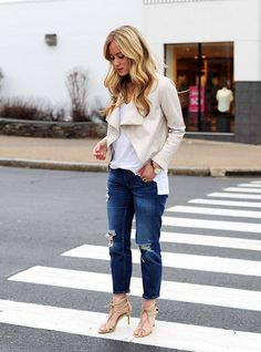 Nude Jacket + Ripped Jeans