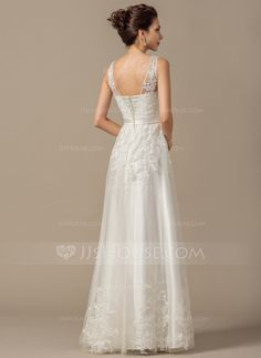 A-Line/Princess V-neck Floor-Length Tulle Wedding Dress With Appliques Lace (002068149)