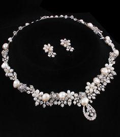 Necklace Crystal Freshwater Pearl Bridal by goddessdesignsgems