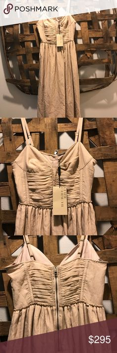 Burberry Brit Bodice Dress Burberry Brit Bodice Dress 55% Silk 45% Cotton, has adjustable straps, 1/2 zipper back, two deep hidden pockets, lined, new with tags, gorgeous! Burberry Dresses